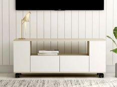 Meuble TV 2 tiroirs bois blanc et chêne clair Tacar 120 cm
