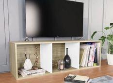 Meuble TV 3 niches bois blanc et chêne clair Membi 114 cm
