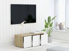Meuble TV 3 tiroirs bois chêne clair et blanc Onic 80 cm