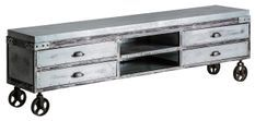 Meuble TV 4 tiroirs manguier massif et métal gris Nourea