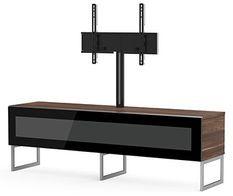 Meuble TV avec support écran Belovo 160 verre infrarouge noir et bois foncé