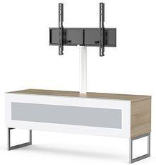 Meuble TV avec support écran Istra 120 verre infrarouge blanc et bois clair