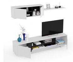 Meuble TV blanc 3 portes et 1 niche avec étagère murale Vako L 200 cm