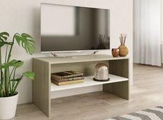 Meuble TV bois chêne clair et blanc Thela 80cm