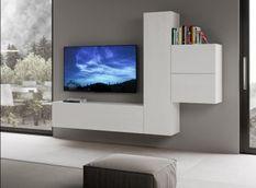 Meuble TV modulable suspendu design blanc Kina L 254 cm - 4 pièces
