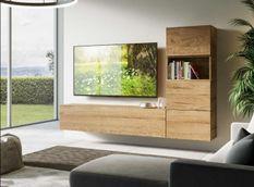 Meuble TV modulable suspendu bois naturel Bela L 234 cm - 5 pièces