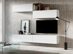 Meuble TV mural blanc koza L 268 cm - 5 pièces