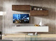 Meuble TV mural blanc et noyer koza L 268 cm - 4 pièces