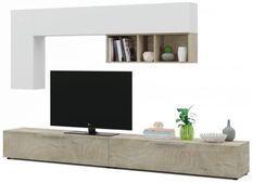 Meuble TV modulable 2 portes et 1 étagère murale Urka L 260 cm