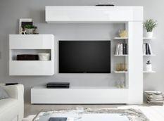 Meuble TV mural bois laqué blanc brillant Raia L 260 cm