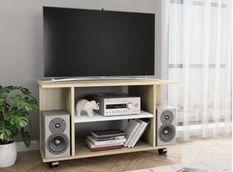 Meuble TV sur roulettes bois blanc et chêne sonoma Java