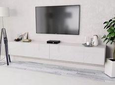 Meuble TV suspendu 4 compartiments bois laqué blanc Chickie L 240 x H 34 x P 40 cm