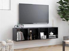 Meuble TV suspendu 4 niches bois noir brillant Neone 143 cm