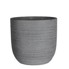 MICA Lot de 2 Pots ronds Stream - Gris - Ø 19,5 x H 19 cm