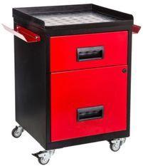Mini servante sur roulettes 2 tiroirs métal noir et rouge Folia H 57