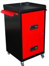 Mini servante sur roulettes 2 tiroirs métal noir et rouge Folia H 72