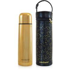 MINILAND - Deluxe thermos gold exclusif pour liquides de 500ml avec effet chromé et sac isotherme prémium, un pack de luxe
