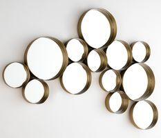 Miroir mural 13 ronds métal doré Kaïra