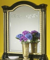 Miroir mural bois brillant noir et doré Savana
