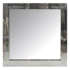 Miroir mural carré verre et métal argenté Licia