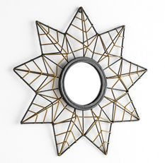 Miroir mural étoile métal noir et doré Roxy