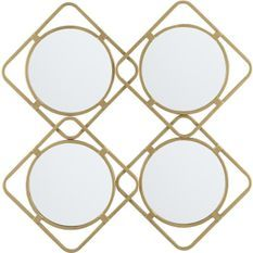 Miroir mural losange 4 parties métal doré Sallow