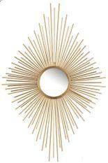 Miroir mural losange à rayons métal doré Ysarg