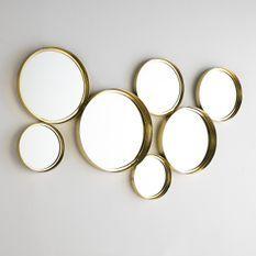 Miroir mural 7 ronds métal doré Kaïra