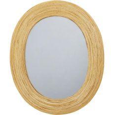 Miroir mural ovale rotin beige Ouvop