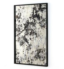 Miroir mural rectangulaire métal noir et miroir vieilli Picty