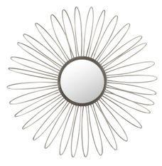 Miroir mural rond à LED verre et métal argenté Liath
