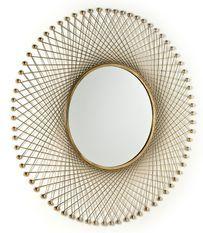 Miroir mural rond métal doré Roxane