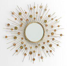 Miroir mural rond métal doré nacré Roxane