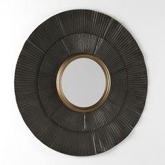 Miroir mural rond métal marron et doré Canva D 105 cm