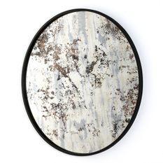 Miroir mural rond métal noir et miroir vieilli ocre Picty
