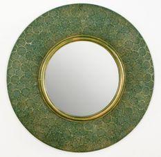 Miroir mural rond métal vert et doré Canva