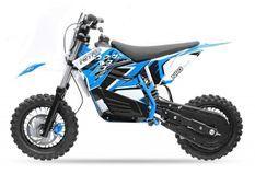 Moto cross électrique 800W brushless 48V 12/10 NRG turbo bleu
