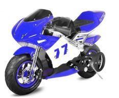 Moto de course PS77 49cc bleu
