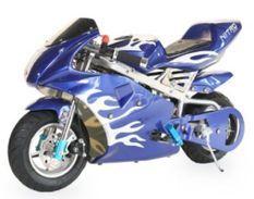 Moto de course PS77 49cc bleu flamme
