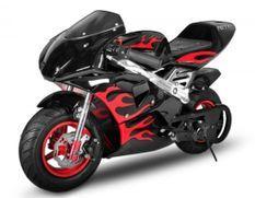 Moto de course PS77 49cc noir flamme