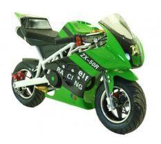 Moto pocket piste Racing 50cc vert