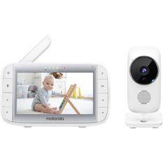 Motorola MBP 485 - Babyphone avec Caméra - Écran 5 - Temperature, Micro, zoom, berceuses - Blanche
