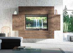 Mur TV mural design noyer Belinda L 234 cm - 6 pièces