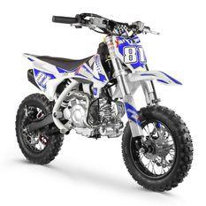 Moto cross enfant 60cc automatique bleu et blanc Super Racing