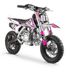 Moto cross enfant 60cc automatique rose et blanc Super Racing