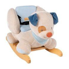 NATTOU Bascule Jim le chien - Peluche 100% polyester, socle et poignées en bois - De 10 a 36 mois environ
