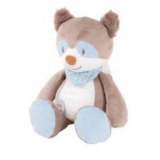 NATTOU Peluche Bob le raton laveur - 100% polyester - 30 cm - Des la naissance
