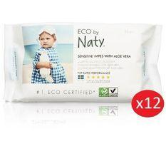 NATY - Lot de 12 paquets de Lingettes douces eco Aloe Vera - 56 pcs