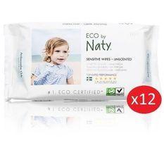 NATY - Lot de 12 paquets de Lingettes douces eco sans parfum - 56 pcs