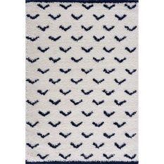 NAZAR Tapis de salon Shaggy longues meches style Berbere - 120 x 160 cm - Blanc et bleu